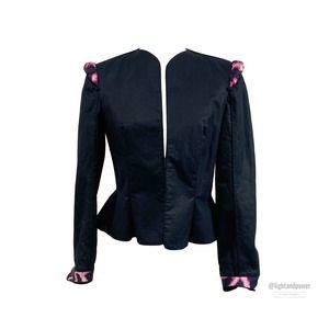 Just Cavalli Quilted Black Peplum Blazer Sz 4 EUC
